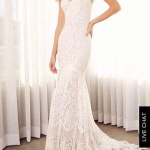 Boho White Lace Wedding Dress Size S